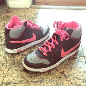 Nike Prestige Pink & Gray High top Sneaker Sz 10
